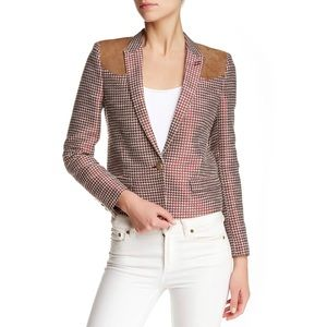 NWT The Kooples Houndstooth Blazer Suede Patches